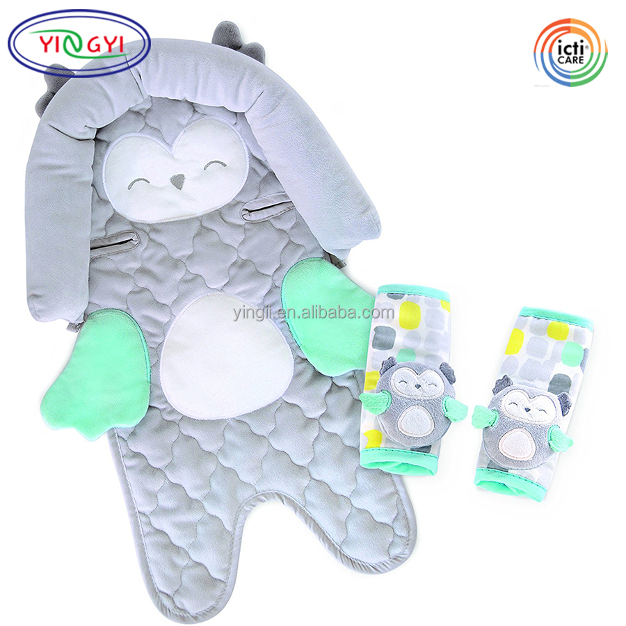 F582 Infant Head Support Plush Strap Covers Car Seats Strollers Owl Anime Seat Covers