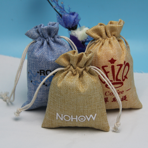 Beauty eco material drawstring light blue jute bag for phone