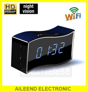 China electric multi-function wireless wifi desk clock spy radio hidden camera