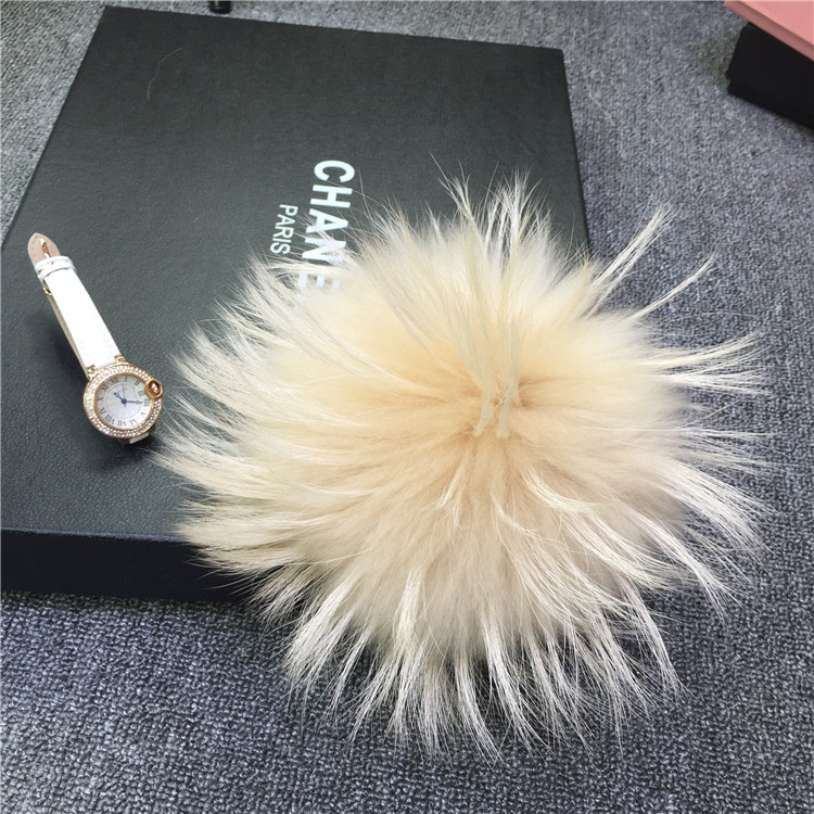 Handmade Fashionable Raccoon Fur Ball Fur Keyring/Bag charms fur pom poms