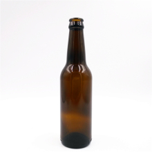 Promotional amber round shape 33cl dark brown beer glass bottle with crown cap