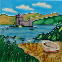Fantastic Hand painted Ceramic art tile with beautiful scenery pictures