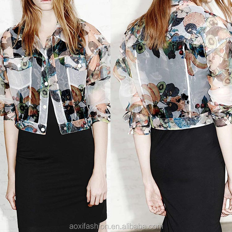 OEM fast delivery printed fruit long sleeve organza fabric ladies short fancy jacket