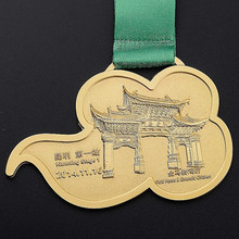Custom Gold Metal Sport Medal with ribbon