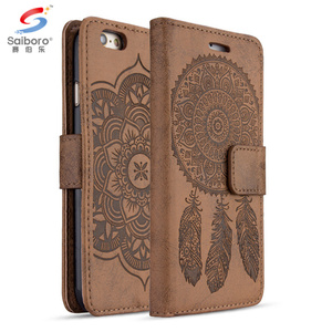 Printing brown leather flip wallet and card case cover for iphone 6 7 8 10 flip case