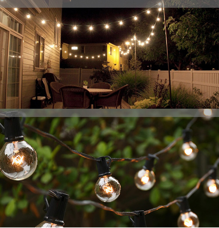 UL Listed 25FT G40 Globe Incandescent String Lights Patio string lights Commercial Outdoor Wedding Party Perfect Decorative Use