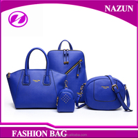 China Bulk High Quality Fashion Woman Backpack Leather Ladies Handbag 4 Pieces in One Bag Set