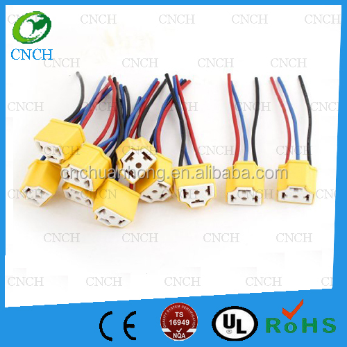 H4 9003 Ceramic Wire Wiring Harness Sockets for Car Headlight