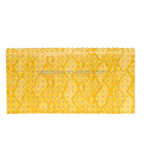 Yellow Beads evening bags, 2017 hot fix leather evening bags for women EV1066