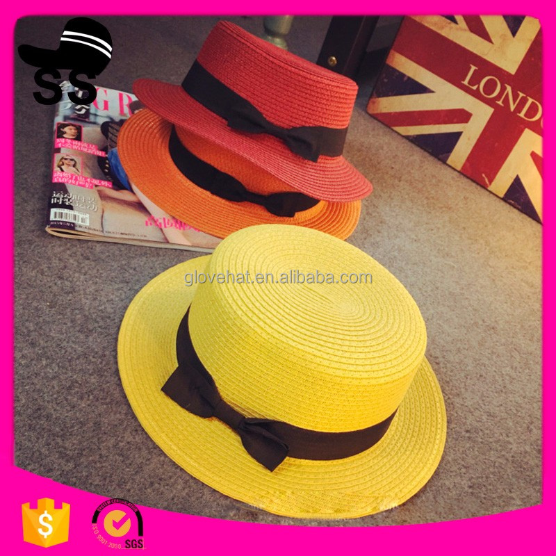 2017 New Style Wholesale Fashion Lady's summer Colorful Boater Hat Paper Straw Hat Summer Hat.