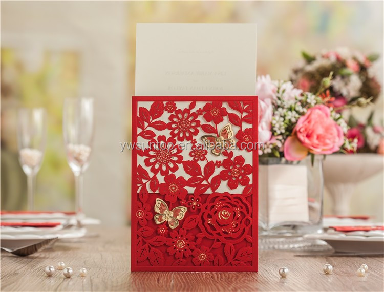 Novel 5270 Chinese Red Butterfly Flower Laser Cut Wedding Invitation Cards