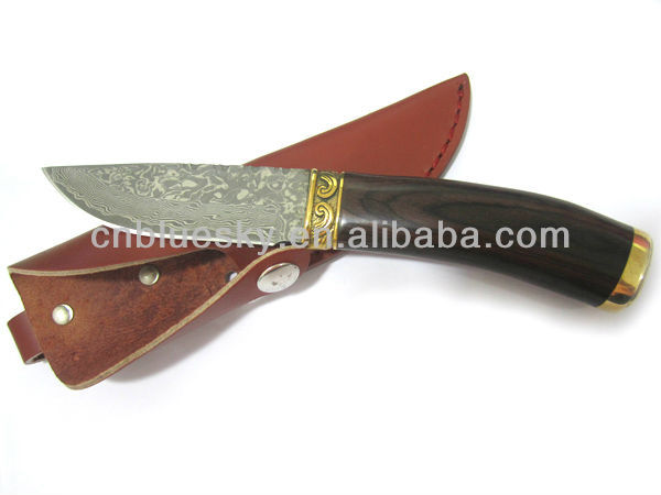 Fixed handmade damascus knife billet