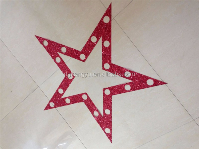 adhesive chunky glitter PVC fabric star decor home