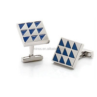 Epoxy Brass Rhodium Plated Square Cuff Links