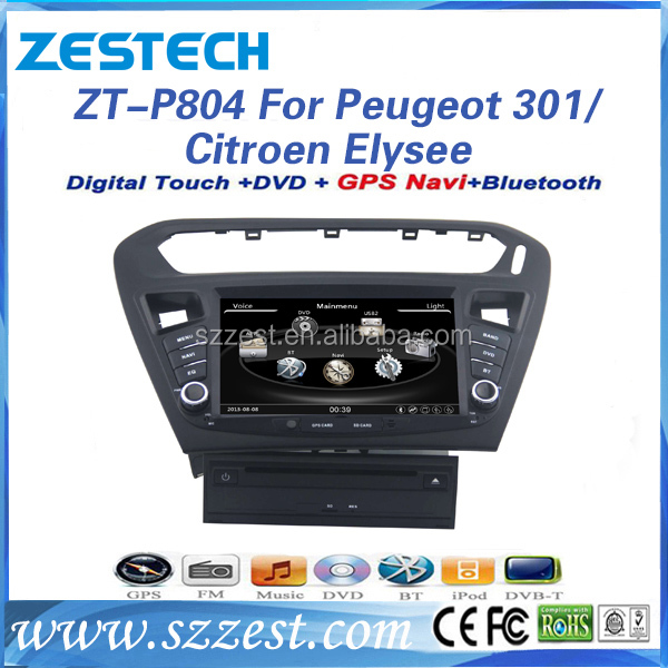ZESTECH Factory Oem car gps media for peugeot 301 Citroen Elysee With Touch Screen/GPS/Bluetooth/TV/USB