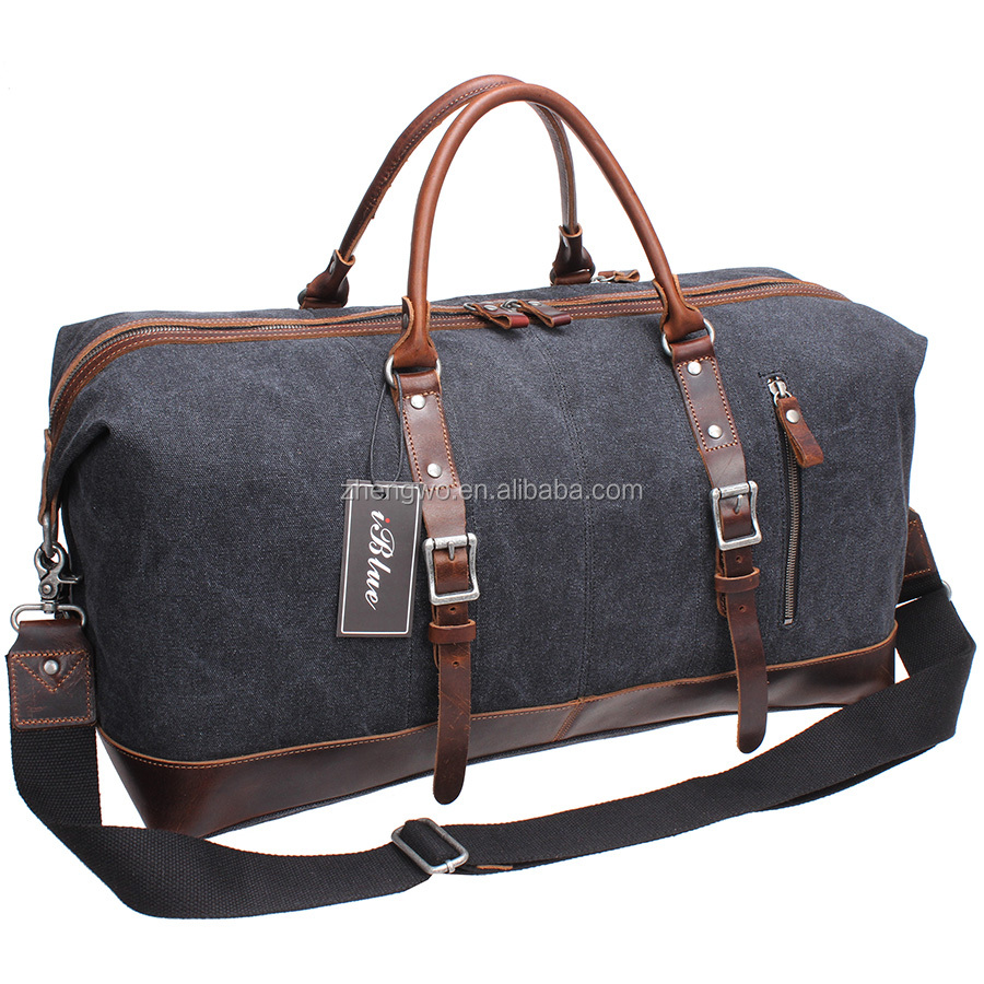 Iblue D004 Mens Vintage Weekender Travel Duffle Canvas Bag With Leather Trim