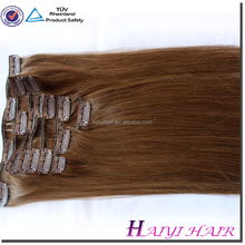 Double Drawn Very Thick Remy 160 gram human hair extensions clip double weft