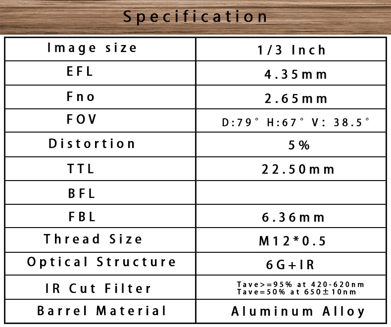 s mount ov4689 1/3inch sensor size efl4.53mm f=2.65 low distortion less than 5% board lens
