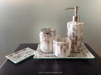 Pearl color mosaic glass bathroom accessory set