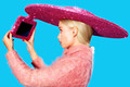 Novelty Promotional Item floppy Hats Sequin Blingbling party hats with phone holder