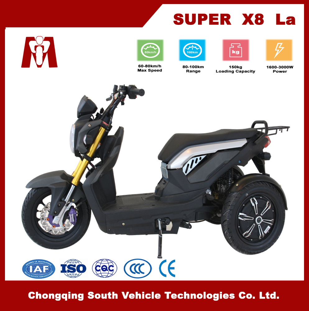 Super X8,China high speed Electric motorbike 2000w Electric 3 wheels motorcycles 72V lead acid battery Electric tricycle