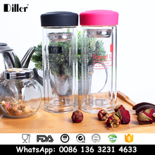 400ml / 500 ml Wide Mouth Double Wall Food Grade Glass Empty Tea Thermos Infuser Drinking Water Bottle
