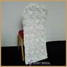 C040D universal white satin fabric wedding rosette chair cover for round top chairs