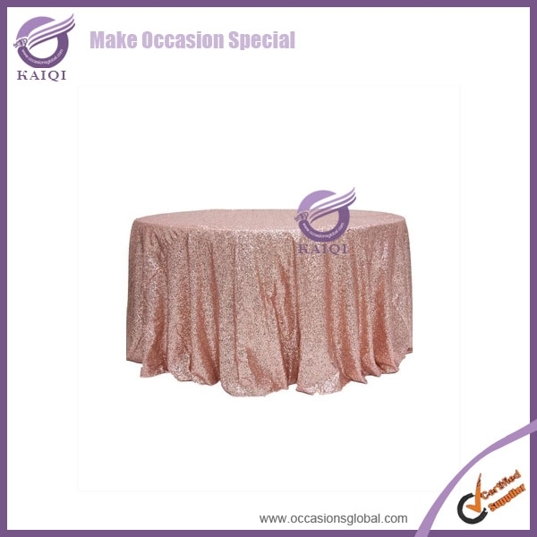 "#18804 Wholesale organza embroidered table cloth for wedding Fancy Shiny Glitter Gold Sequins 132"" Round Table Cloth"