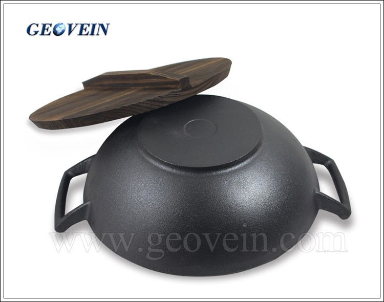 Hot Selling Cast Iron Wok with two ears handle