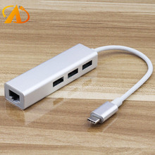 USB C Adapter to USB 3.0 Data Hub with RJ45 Ethernet Adapter 10/100/1000 Mbps LAN Network