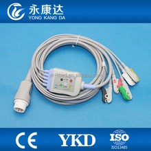 Mindray pm5000 pm6000 T5/T6/T8 ECG patient cable with 5-leads, clip electrodes, IEC, 12pin
