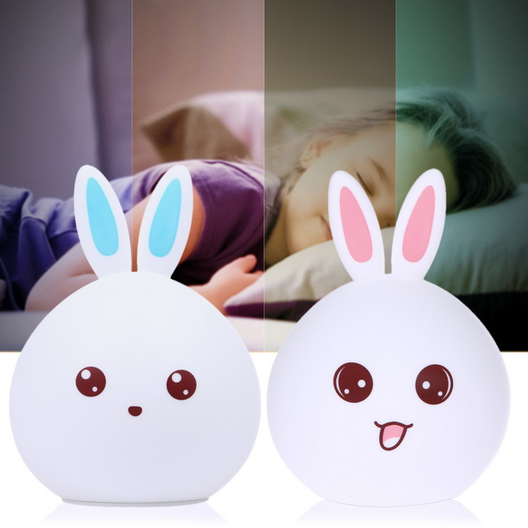 USB Rechargeable Children Multicolor LED Night Light Silicone Cute Touch LED light