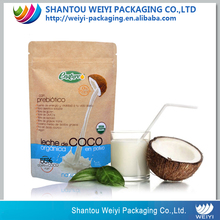 milk powder packaging bag zipper stand up brown paper bag for coconut milk