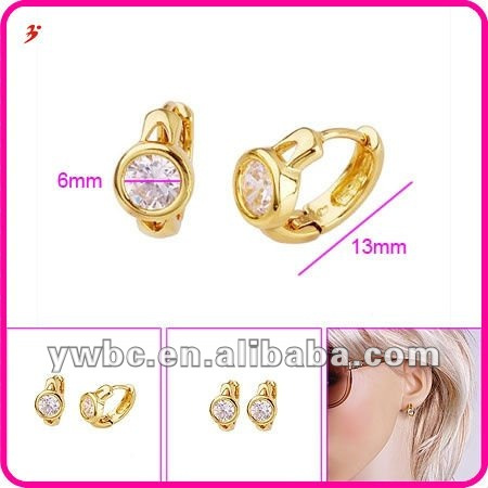 fashion high quality 14k gold plated watch hoop earring(E630240)