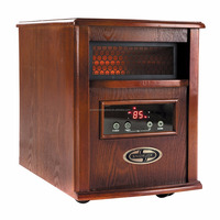 1500W Quartz Dark Oak Wood Portable Infrared Space Heater with Stainless Steel Diffuser & Remote Control