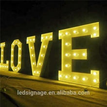 Decorative led giant love bulb letters signs light up marquee letters for wedding