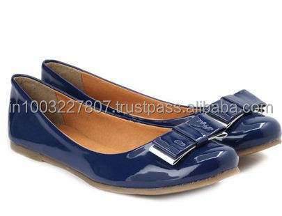 Fashionable Blue Patent Leather belly shoes