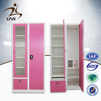 Chinese furniture 2 door pink waterproof metal storage cabinet / flat pack wardrobe