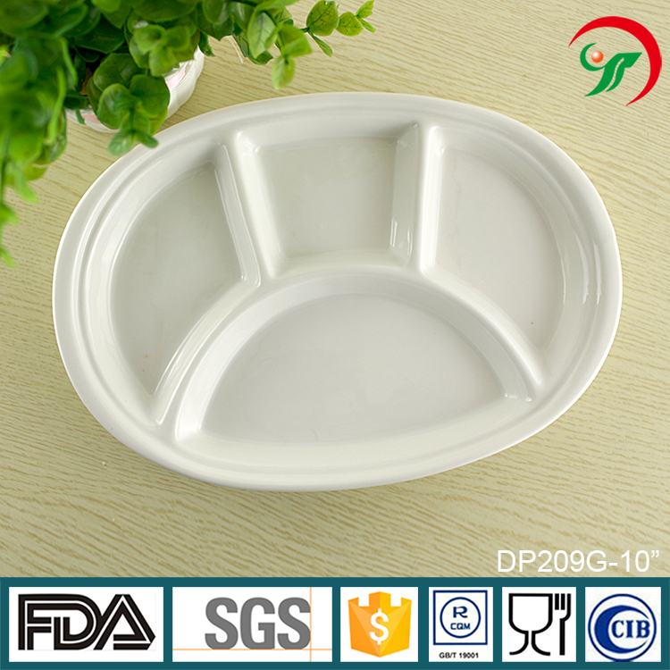 best selling items for home wholesale Porcelain children oval divide Plate Ceramic 4 section plate