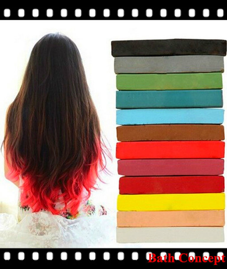 Rainbow color round hair chalk for hair style