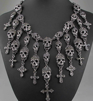 Gorgeous Necklace Skeleton skull Cross Jewelry Crystal Department Statement Women Choker Necklaces Pendants US Domestic Delivery