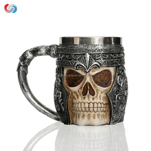 Stainless Steel Cup And Resin Handle Skull Coffee Mug Of 3D Design For Promotion