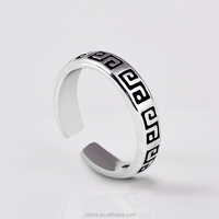 S925 silver adjustable Thai silver swing hand engraved silver ring
