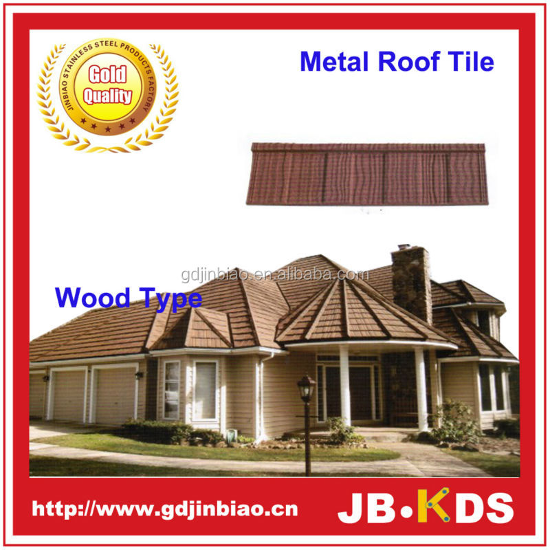 Construction building roofing material wood type colorful sun stone coated metal roof tile