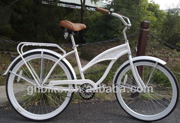 26''beach cruiser bike bicycle,white frame cruiser cycling for woman,fashion city bike