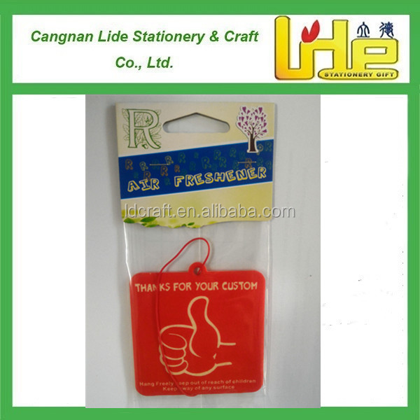 good packing with plastic hanger Custom Car Paper Air Freshener for promotion(ecofriendly) for retail