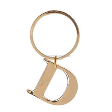 "Gold plated wholesale Initial Letter ""D"" Metal Keychain Key Ring"