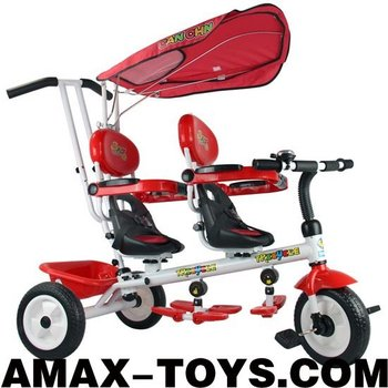 bt-016021D New design children multifunctional double seats ride kids tricycle and baby stroller