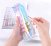 Coloured transparent holographic pvc laser pencil bag with tassel