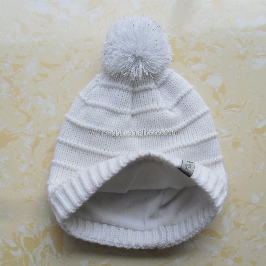 Las mujeres de invierno blanco gorrita tejida con forro Polar ...